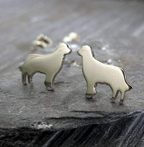 Golden Retriever stud earrings. Tiny dog polished sterling silver post jewelry. Handmade in the USA.