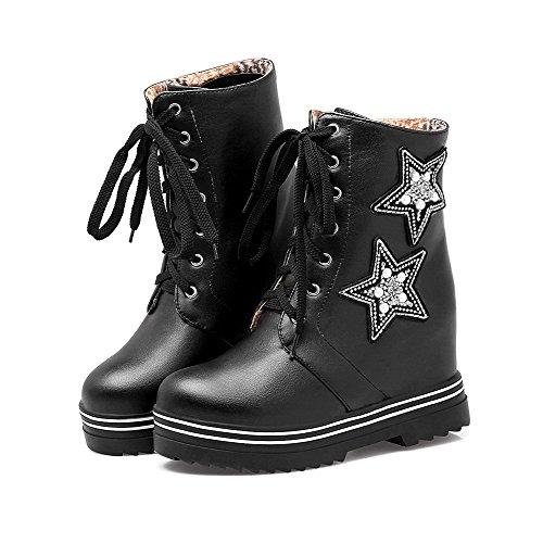 VogueZone009 Damen Rein Hoher Absatz PU Leder Schnüren Stiefel mit Wasser Diamanten Schwarz