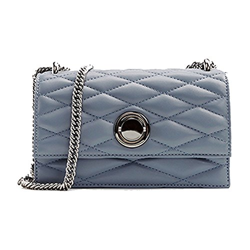 Ladies Plaid Crossbody Classic Bag Shoulder Blue Leather Fashion Woman For Handbag Chain Quilted T6STwrx4