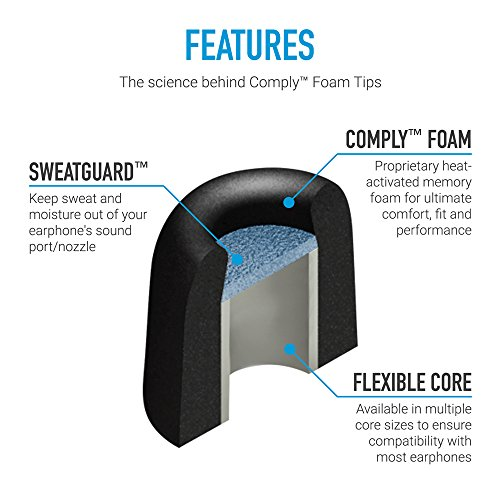 Comply Sport Pro Premium Memory Foam Earphone Tips for Beats by Dre Powerbeats Pro, BeatsX, Powerbeats 2 & 3, Tour 2 & 2.0, Noise Reducing Replacement Earbud Tips, Secure Fit (Medium, 3 Pair)
