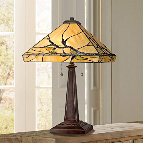 Budding Branch Mission Table Lamp Bronze Metal Glass Art Shade for Living Room Family Bedroom Bedside Office - Robert Louis Tiffany