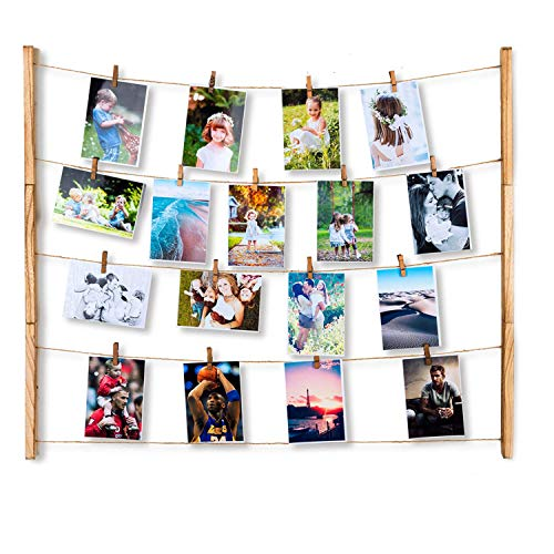Kitlit Hanging Photo Display Wall Decor Wall Pictures Frames with 30 Clips,DIY Picture Frame Collage Set Includes Wood Strips,Hanging Wire,Wood Clips,Picture Frames&Prints Multi Photos Organizer