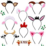 CiyvoLyeen Farm Animals Headbands Barnyard Animals Ear Headbands for Petting Zoo Farmhouse Themed Birthday Party Favors Kids Toddlers Adults Costumes Dress-Up Party Supplies Set of 8