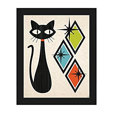 Retro Cat With Diamonds Green Blue And Orange: Mid-Century Retro Modern Postmodern Geometric Shapes Abstract Painting Drawing Illustration Wall Art Print on Canvas with Black Frame