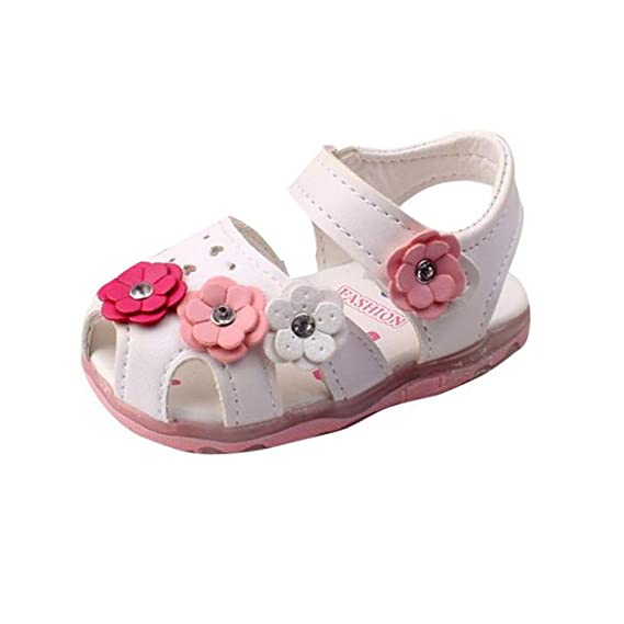 Sandalias bebé niñas Verano Zapatillas Sandalias para niñas pequeñas con Flores LED Zapatos de bebé con Suela Suave Recién Nacido Calzado Zapatos de ...