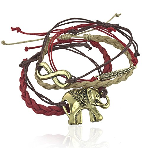 Lux Accessories Woven Tribal Elephant Infinity Metal Leaf Arm Candy Bracelet Set