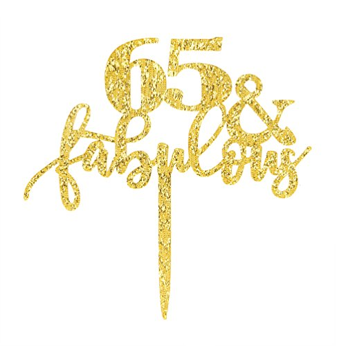 65 & Fabulous Cake Topper, Glitter Gold 65th Birthday Party Cupcake Topper Decoration Sign (65 Fabulous) by INNORU