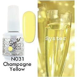 SYSTER 15ml Nail Art Soak Off Color UV Lamp Gel Polish N031 - Champagne Yellow