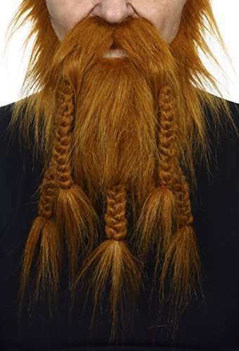 Viking, dwarf ginger fake beard, self adhesive