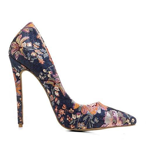 Spitz Kleid Schuhe Absätze 44 Sexy 35 Größe Arbeit Zehe Pumps Geschlossen Damen Stilett Gestickt Hoch NVXIE Clever K8qTwR1xCO