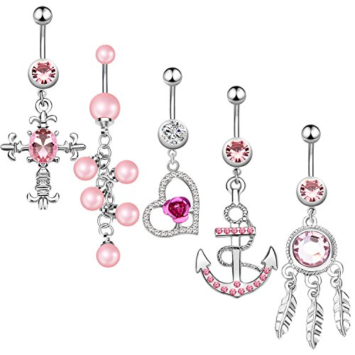 5Pcs Dangle Belly Button Rings Set Navel Surgical Stainless Steel 14G Body Piercing Jewelry - Gothic Belly Ring
