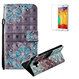 Funyye Samsung Galaxy A6 2018 Case [with Free Screen Protector],Stylish [Lanyard Strap] Magnetic Flip Soft Silicone PU Wallet Leather Case with Credit Card Holder Slots Stand Function Case for Samsung Galaxy A6 2018,Blue Flower