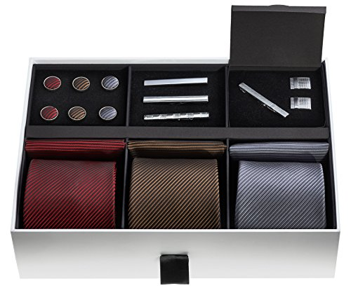 Premium Mens Gift Tie Set - Silky Necktie Pocket Squares Tie Clips Cufflinks For Men