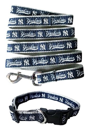 New York Yankees Nylon Collar and Matching Leash for Pets (MLB Official by Pets First) Size Small by Pets First