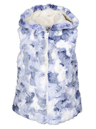 Widgeon Girls' Little Faux Fur Hooded Zip Vest 3412, BBS/Blueberry Swirl, 4