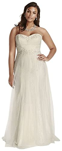 Strapless Tulle Over Lace Plus Size Wedding Dress Style 9WG3750
