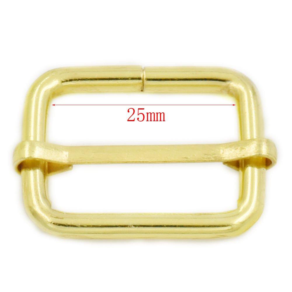 20pcs Metal 25mm Triglides Webbing Slides Buckle Strap Adjuster for Belt Bag