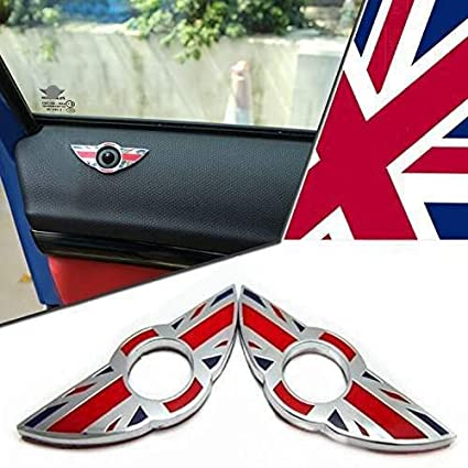 iJDMTOY (2) Union Jack Style Wing Emblem Rings For MINI Cooper R55 R56 R57  R58 R59 Door Lock Knobs, Red/Blue UK Flag Design (Does not fit R60 R61 nor