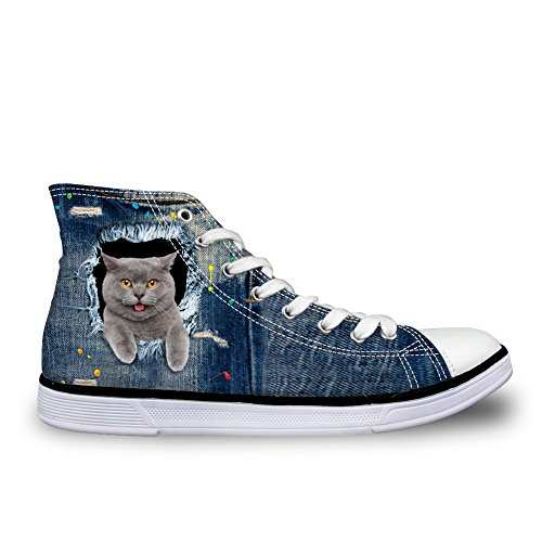 Abbracci Idea Simpatico Cane Gatto Stampa Donna Sneakers In Denim Scarpe Alte In Tela Britannica Shorthairs
