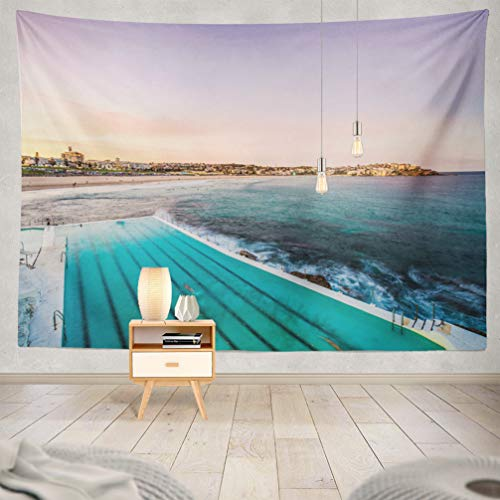 WAYATO Sydney Wall Hanging Tapestry, 80 x 60 inch Beach Sydney Pool Australia Sand Australian Blue Coast Holiday for Home Decorations Bedroom Dorm Decor