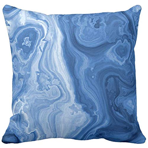 Throw Pillow Cover Cute Ornate Modern Azure Blue Malachite Marble Swirls Elegant Decorative Pillow Case Home Decor Square 18 x 18 Inch Pillowcase ()
