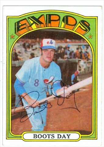 Autograph Warehouse 38358 Boots Day Autographed Baseball Card Montreal Expos 1972 Topps No. 254 - Card Boots Points