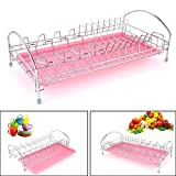 Fashine Stainless Steel Dish Drying Rack with Drainboard, Home Kitchen Dish Drainer Rack Holder (pink)