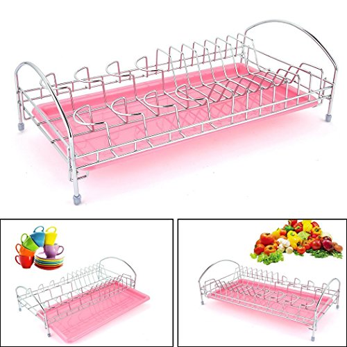 Fashine Stainless Steel Dish Drying Rack with Drainboard, Home Kitchen Dish Drainer Rack Holder (pink) by Fashine