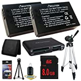 Two Canon EOS M 18 MP CMOS Mirrorless Digital SLR Camera LP-E12 Lithium Ion Replacement Battery + 8GB SDHC Class 10 Memory Card + Full Size Tripod + SDHC Card USB Reader + Memory Card Wallet + Deluxe Starter Kit Bundle DavisMAX EOS M Accessory Kit