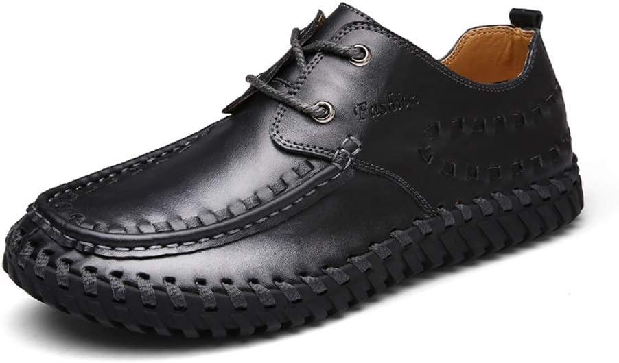 GUYUEXUAN Casual zapatos de vestir en barco de los hombres respirables de los holgazanes forrado de cuero plano superior hecho a mano de Oxford atan for arriba zapatos de punta redonda tejida, buena c