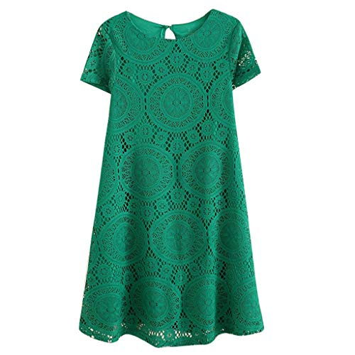 Kiminana Fashion Sexy Plus Size Solid Color Short-Sleeved Round-Neck lace Openwork Dress Green by Kiminana (Image #1)