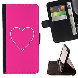 BullDog Case - FOR/Sony Xperia Z2 D6502 / - / pink white love heart valentines girlfriend /- Monedero de cuero de la PU Llevar cubierta de la caja con el ID Credit Card Slots Flip funda de cuer
