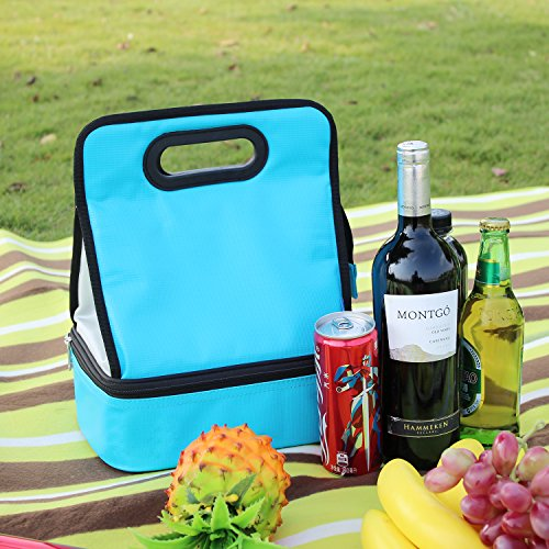Expandable Lunch Bag Double Layer Cooler Tote Bag for Adult Women and Men - Idea for Beach, Picnics, Road Trip, Meal Prep, Everyday Lunch to Work or School, Ice Blue by yodo (Image #6)