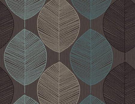 Arthouse Opera Retro Leaf Chocteal Wallpaper Amazoncouk Kitchen