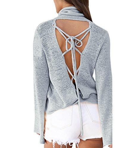 Pullover Col Nu Shirt Tricots Jumper et Gris Longues Femmes Haut Sweater Roul Bandage Pulls Dos Tops Manches Chandail Automne Fashion Printemps T T4qyFYY
