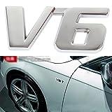 V6 Chrome Metal Decal Sticker Car Badge Auto Engine Cylinder Arrangement Emblem Vehicle V-type engine Symbol