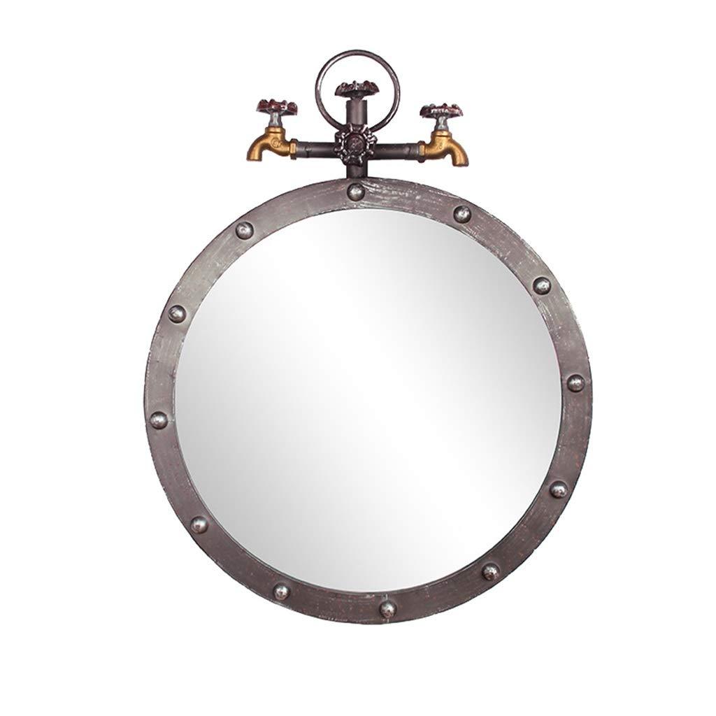 Diameter 50cm Wall-Mounted Mirrors Retro Wall Bathroom Mirror Hanging Mirror   Circle Wall Mounted Vanity Makeup and Shaving Mirror   Decorative Mirror Holder   Plane Water Pipe Mirror Bathroom Accessories