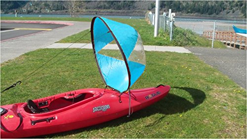 MOOCY Durable 42'' Downwind Paddle Kayak Wind Sail Kit Compact Portable Easy Setup Deploys Quickly -Blue