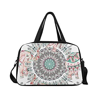 InterestPrint Mandala Ethnic Elephant Duffel Bag Travel Tote Bag Handbag Luggage well-wreapped