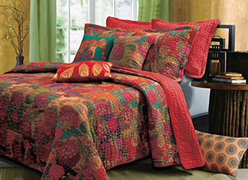 Greenland Home Jewel Quilt Set, 5-Piece Full/Queen, Red