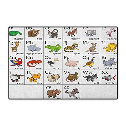 Educational,Door Mats for Inside,Alphabet Learning Chart with Cartoon Animals Names Letters Upper and Lowercase,3D Digital Printing Mat,Multicolor,Size,20