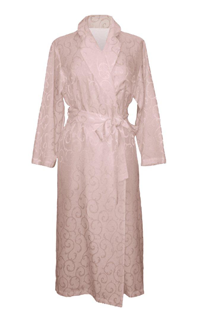 CELAIST - Women's Cotton and Silk Long Sleeve Long Robe w/ Matte-Shine Scroll Jacquard, Pearl Pink, 3X