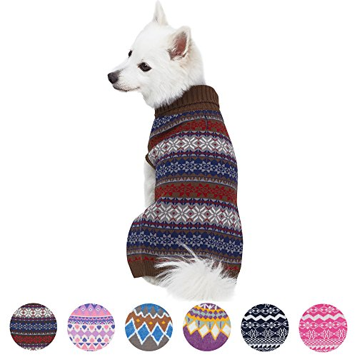 Blueberry Pet 6 Patterns Dark Tone Cool Winter Bloom Designer Pullover Dog Sweater in Cocoa Brown, Back Length 12