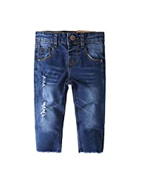 Kidscool Girls Ripped Holes Raw Edge Stretchy Soft Jeans