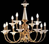 Classic Lighting 5989 W Ceramic, Brass and Ceramic, Chandelier, Polished Brass with White Ceramic