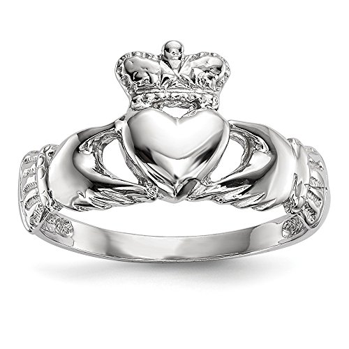 14K White Gold Polished Claddagh Ring Size ()