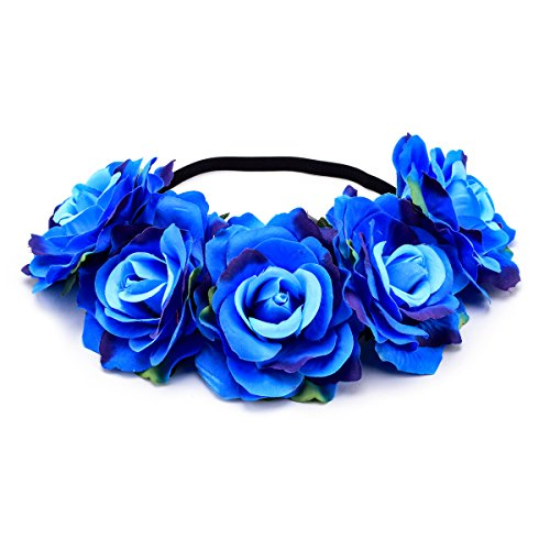 - DreamLily Women's Hawaiian Stretch Rose Flower Headband Floral Crown for Garland Party BC12 (Z-blue)