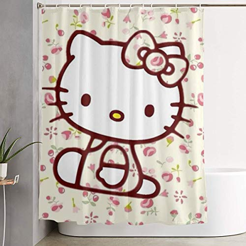 LYULIAN Floral Hello Kitty with Hook Stylish Shower Curtain Printing Waterproof Bathroom Curtain 60 X 72 Inches
