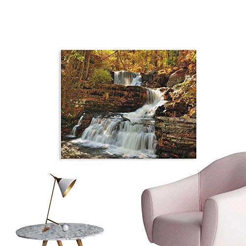 Anzhutwelve United States Wallpaper Upper Falls at Delaware Water Gap Autumn Nature Forest Scenery Cascade Art Poster Brown Green White W36 xL24
