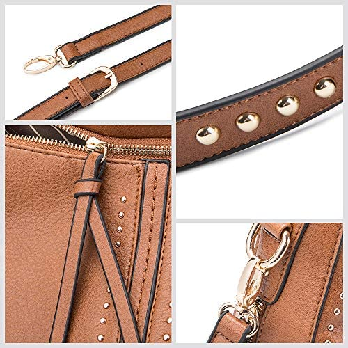 Montana West Large Leather Hobo Handbag for Women Concealed Carry Studded Shoulder Bag Crossbody Purse